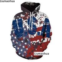USA American Flag Hoodie Winter Men's Casual Harajuku Sweatshirt 3D Print Trendy Street Round Neck Long Sleeve Pullover