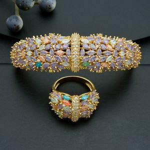 Image 5 - Modemangel Delicate Shiny Bloemen Aaa Zirconia Koperen Saudi Dubai Jewerly Sets Voor Wome Dracelets Bungelt Ring Bruiloft