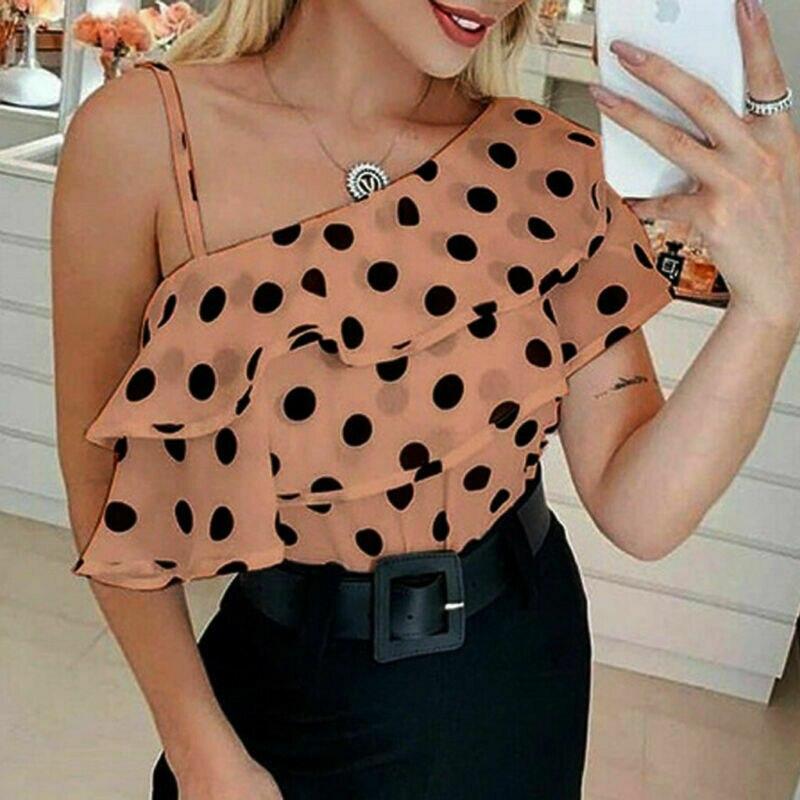 2019 Women One Shoulder Dots   Blouses   New Lady Summer Short Sleeve Ruffle Tunic Polka Dot   Blouse     Shirts   Femme Fashion Clothes New