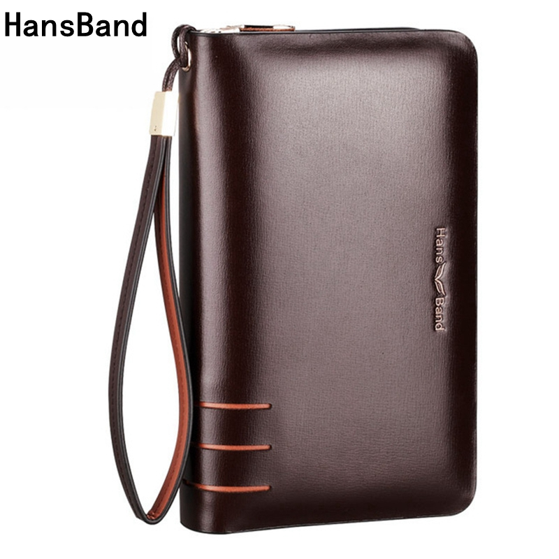 HansBand Men Wallet Genuine Leather Dull Purse Fashion Casual Long Business Male Clutch Wallets Men's handbags Men clutch bag цена 2017