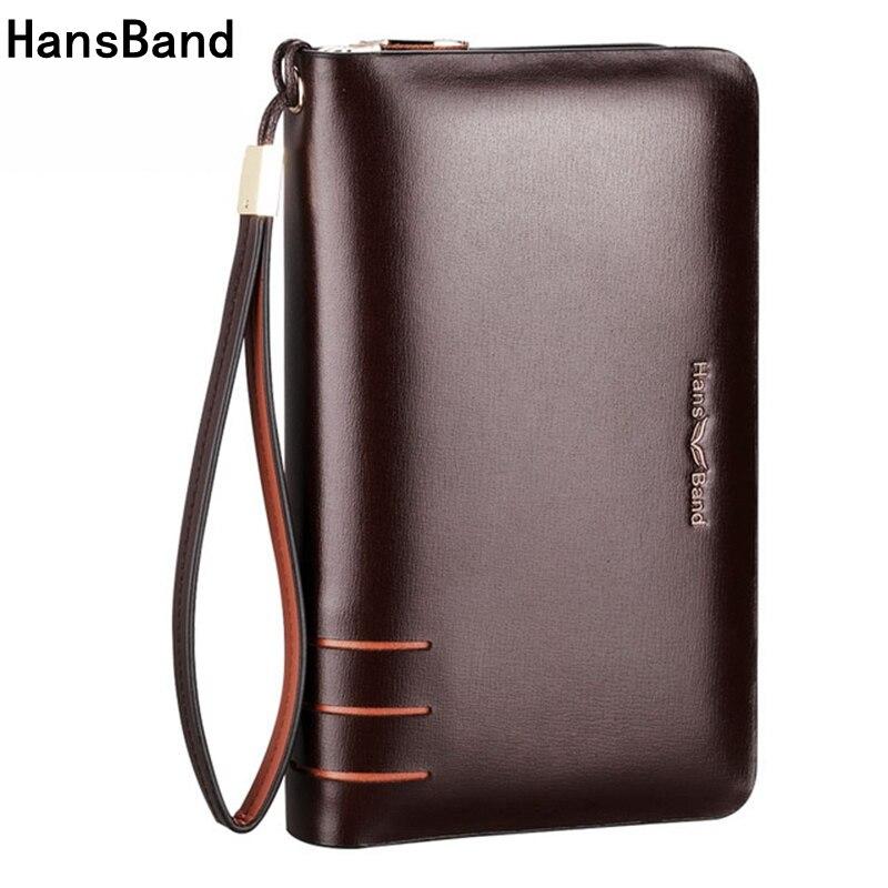 HansBand Men Wallet Genuine Leather Dull Purse Fashion Casua