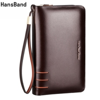 HansBand Men Wallet Genuine Leather Dull Purse Fashion Casual Long Business Male Clutch Wallets Men's handbags Men clutch bag