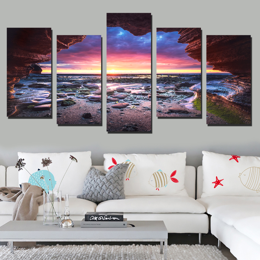 Sunset beach wall art canvas sea wave landscape art prints Marine canvas painting living room wall decoration gifts FA634