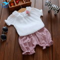M&F 2017 Summer Baby Girls Clothing Set 2pcs Short Sleeve + Pants Infant Girls Fashion Suit Toddler New Brand Girls Clothes Sets