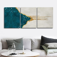 Golden and Blue Wall Picture Poster Print Canvas Painting Calligraphy Decor for Living Room Bedroom Home Frameless