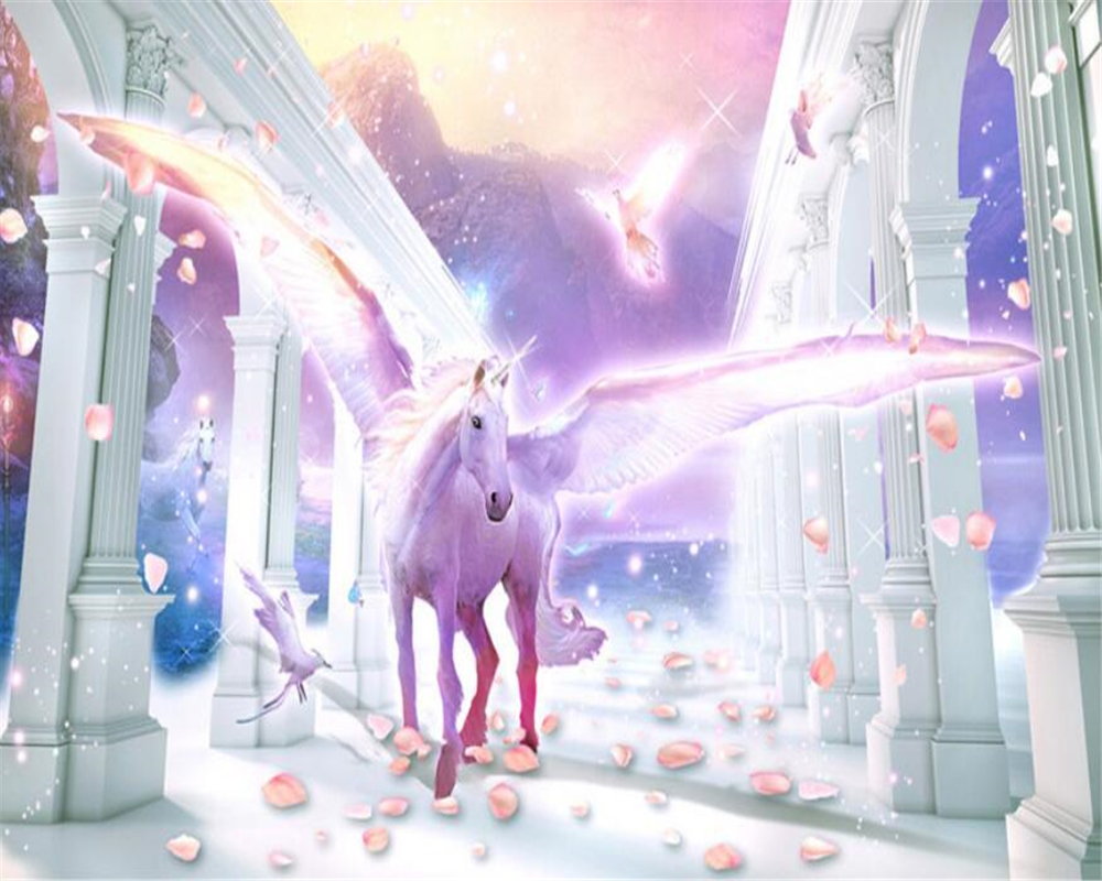 Купить с кэшбэком beibehang European Roman column flying unicorn Pegasus petal background wall paper home decor papel de parede 3d wallpaper mural