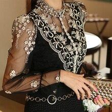 Винтажная кружевная сексуальная Длинная прозрачная сетчатая шифоновая блузка с жемчужной вышивкой в виде бабочек и цветов, Женская туника с воротником-стойкой
