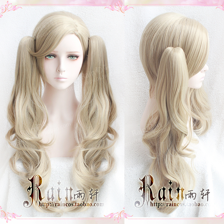 P5 Persona 5 Anne Takamaki Long Curly Linen Cos Hair With 2 Clips On Ponytails Heat Resistant Cosplay Costume Wig