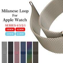 Миланский сетчатый ремешок на Нержавеющаясталь браслет для Apple Watch Series 4 40 мм 44mm Band соединитель на запястье ремень для iwatch 1/2/3 42 мм 38 мм