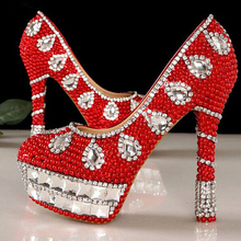 2015 Gorgeous Red Pearl High Heel Wedding Shoes Crystal Rhinestone Bridal Wedding Dress Shoes Lady Party Princess Shoes