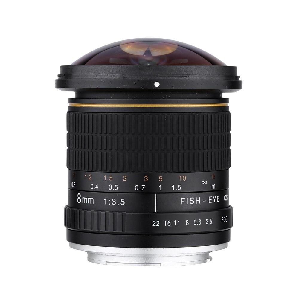 Objectif de caméra circulaire asphérique CUJMH Lightdow 8mm F/3.5 objectif Fisheye Ultra large pour appareils photo Canon DSLR 550D 650D 750D 77D