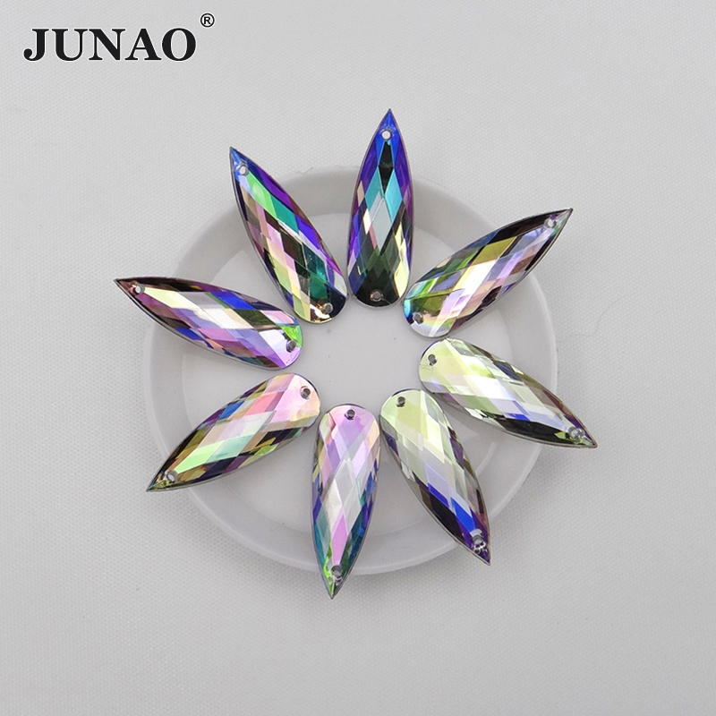 JUNAO Official Store JUNAO 10*30mm Sewing Big Crystal AB Rhinestones Flatback Strass Sew On Crystals Stones Acrylic Beads for Clothes Decorations