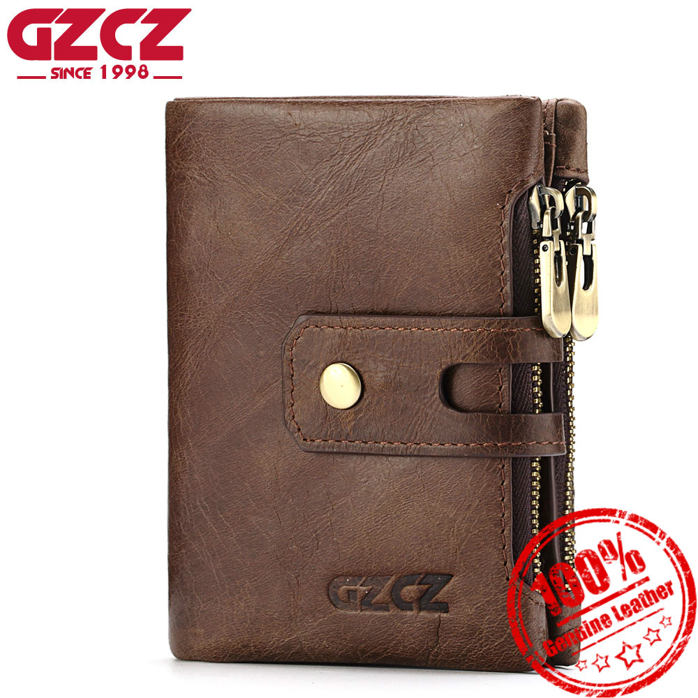 GZCZ Genuine Leather Men Short Wallet Luxury Brand Coin Purse Card Holder Small Wallets Male Clutch Clamp For Money Bags Handy gzcz genuine leather men wallet fashion coin purse card holder small wallet men portomonee male clutch zipper clamp for money