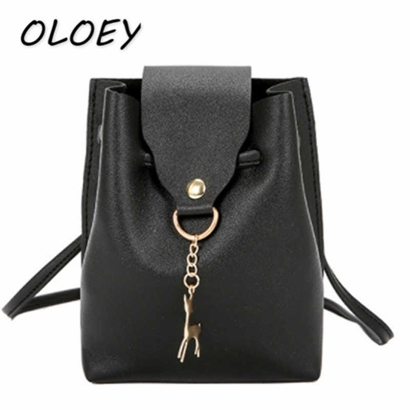 Женская сумка через плечо из искусственной кожи с милым оленем, Повседневная мини-сумка на шнурке, кошелек для монет #