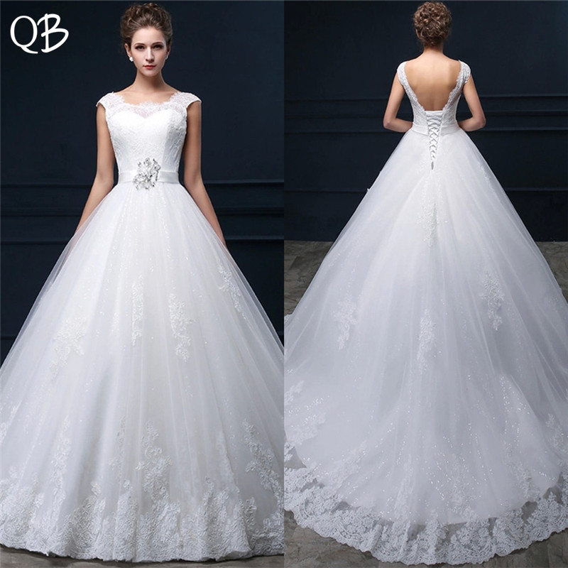 Custom Size Ball Gown Backless Lace Beading Sash Wedding Dresses Long Formal Elegant 2019 New Wedding Gowns DW55