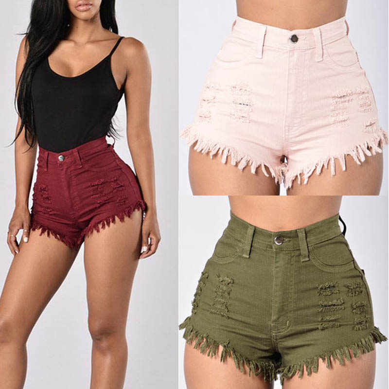 Fashion Summer Women Sexy Denim Shorts Elastic High Waist Solid Color Frayed Tassel Lady Girls Casual