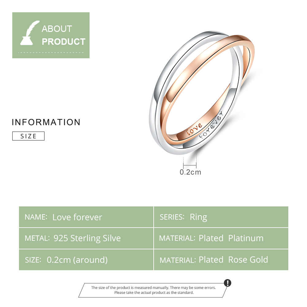 BISAER แหวนคู่เงินแท้ 925 เครื่องประดับสำหรับสุภาพสตรี Elegant สองสีแหวนเงินเครื่องประดับของขวัญงานแต่งงาน HVR053
