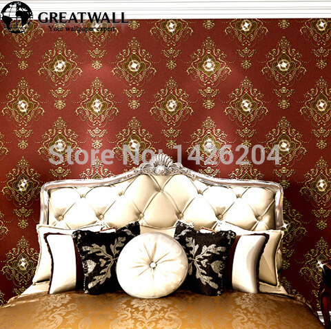 ФОТО Great wall modern European style luxury damascus bright diamond 3d wallpaper roll for living room