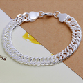 top quality Silver Plated & Stamped 925 10mm men's  bracelet hand chain party All side of the bracelets fashion jewelry size 8MM