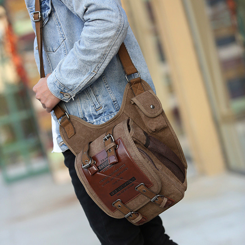 Shoulder Bag Military Canvas Messenger Bag Canvas Man Bag Leather &Canvas Military Bag Man's Canvas Over His Shoulder