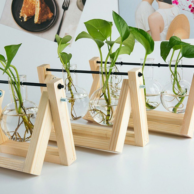 Desktop Glass Planter Bulb Vase with Retro Solid Wooden Stand and Metal Swivel Holder for Hydroponics Plants Home Office Decor 3