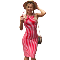 6f9bd5fa5d56 Women S Summer Red Stripe Wrap Dress Ladies 2019 Streetwear Sexy Club  Bodycon Beach Dresses
