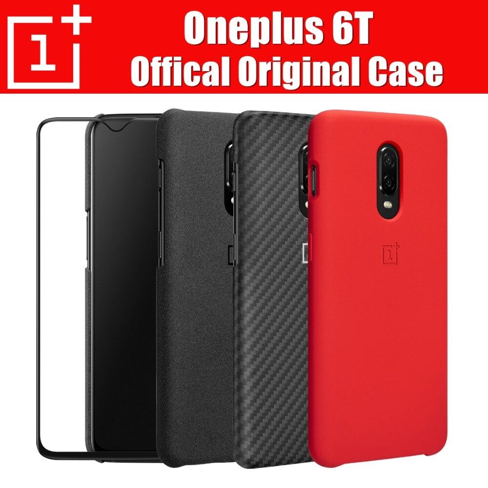 Oneplus 6 t cas d'origine 100% officielles oneplus housse de protection en silicone/grès/carbone/flip couverture pour oneplus 6 t coque