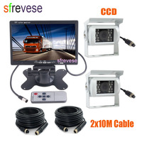 7 LCD Monitor Car Caravan Rear View Kit + 2 x 4Pin 18 IR Night Vision CCD Reversing Backup Camera Waterproof For Bus Truck