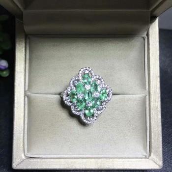 Anillo de Esmeralda Natural 3*4mm varios mosaicos 925 anillo de plata de ley anillo de esmeralda de estilo de lujo hermosa joyería.