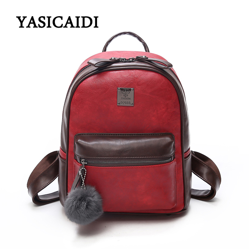 2018 New Fashion Backpack Women Pu Leather School Bag For Teenage Girls Travel Female Backpack Women Bags With Fur Ball women pu leather backpack mansur lady leather backpack girl leather school bag free shipping fashion girls bag