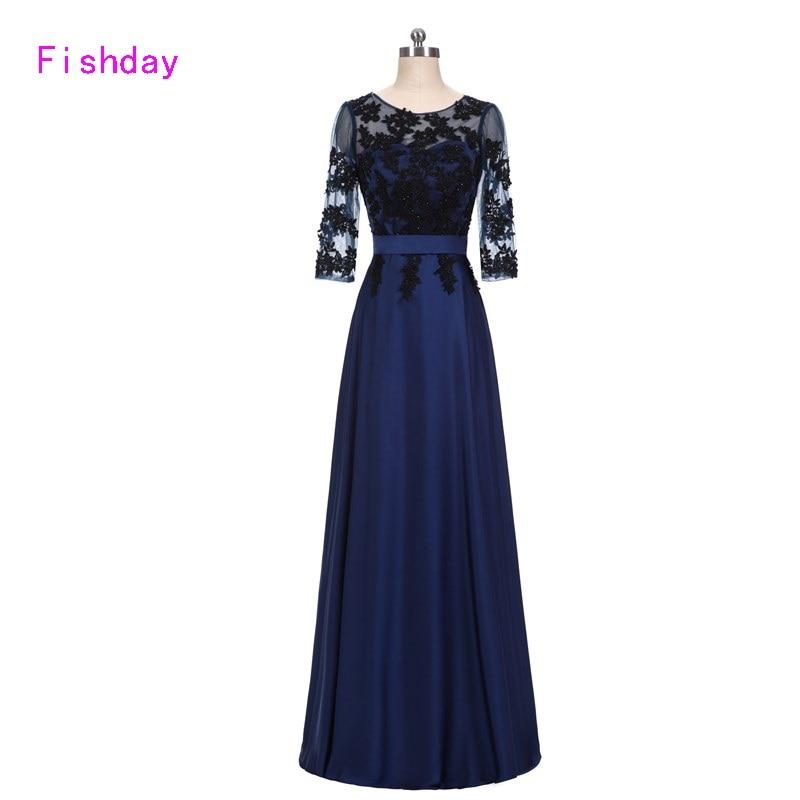 Fishday Formelle Robes De Soirée 2019 Dentelle Longue Marine Foncé Bleu Femmes Appliques Élégant Robe Robe Longo Occasion robes de soirée B20