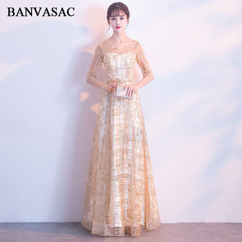 BANVASAC 2018 A Line Sequined O Neck Crystal Sash Long Evening Dresses Party Lace Half Sleeve Backless Prom Gowns