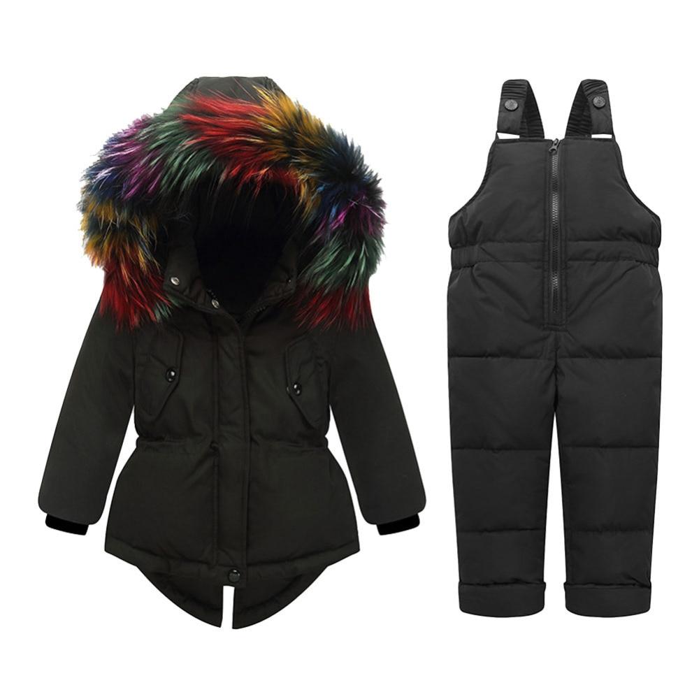 Winter Children Clothing Sets Warm Duck Down Jacket For Baby Girl Children's Coat Snow Wear Fur Collar Kids Suit цена