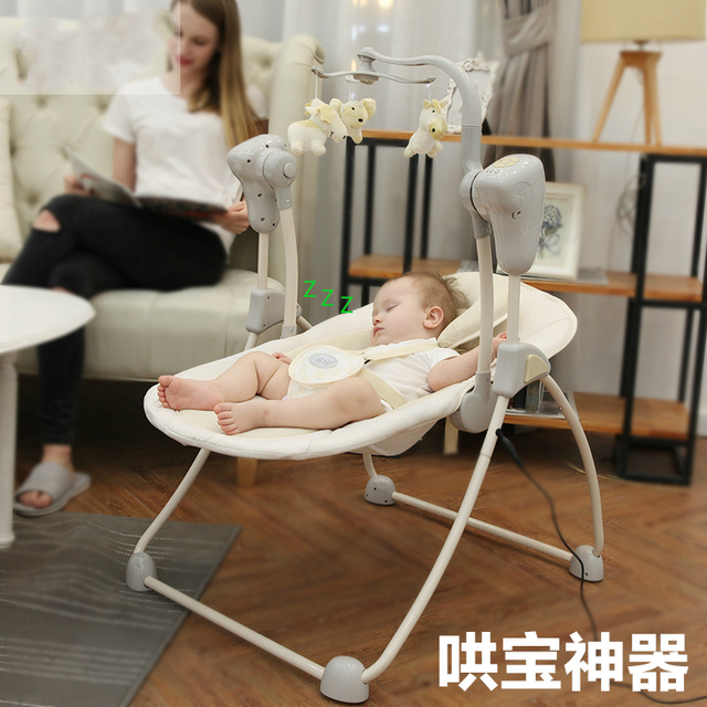 Rocking Chair Cradle Victorian Style Chairs Uk Plus Size Baby Swing Bb Electric Newborn Bouncer Comfort Crib Sleeper With Plug Adapter
