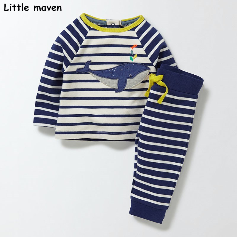 Little maven children`s clothing sets 2017 new autumn boys Cotton brand long sleeve striped cloth whale t shirt + pants 20162