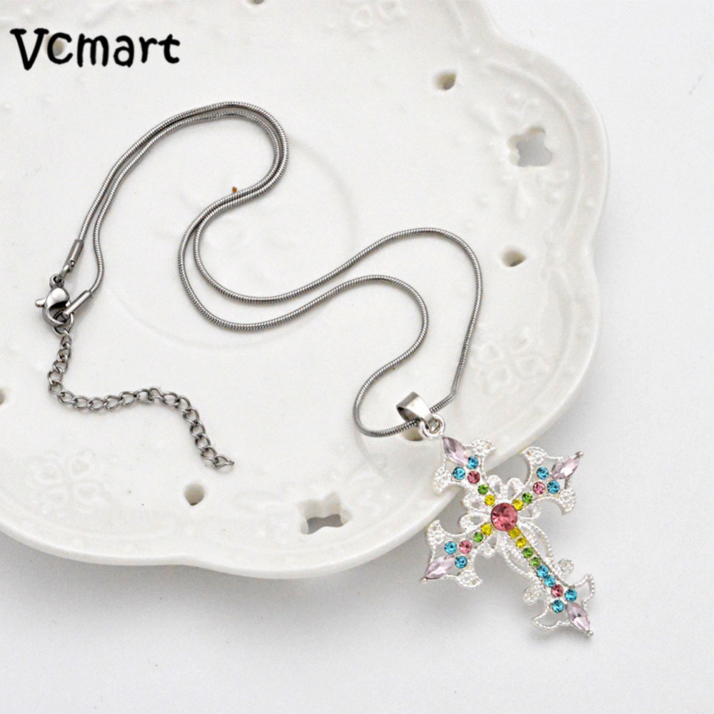 VCmart Christmas Retail 48*37mm Colorful Cross Pendant Pendant Chain Necklace For girls Best Gift