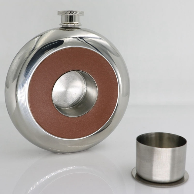 5oz/150ml High Grade Portable 304 Stainless Steel Pocket Hip Flask Whiskey Flagon with Glass of Wine