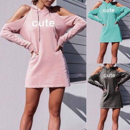 02b9c196d6 Hoodie Dress Off Shoulder Sexy Tracksuit Long Hoodies Full Autumn Women  Dresses Pink Letter Cute Casual Hoodie Dresses