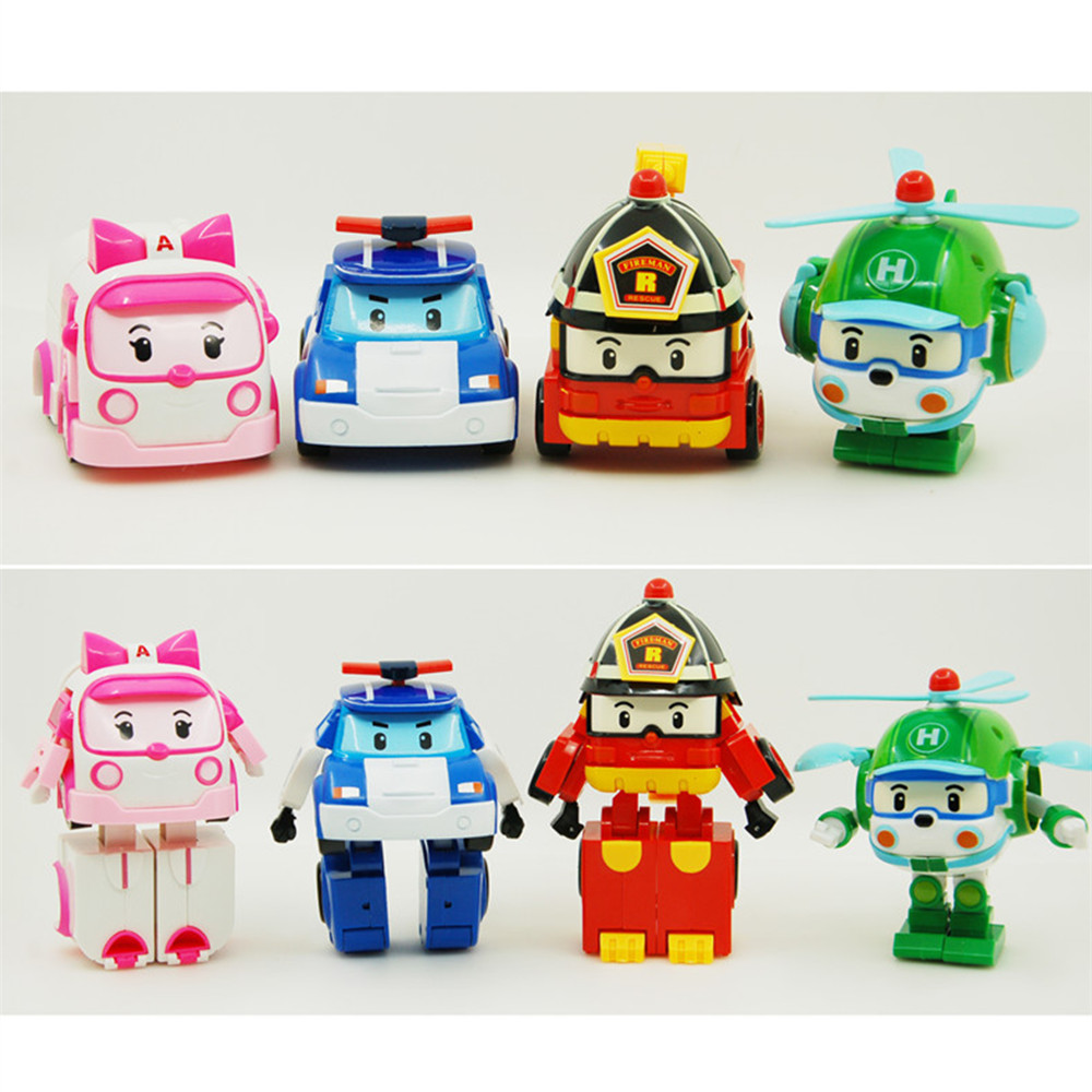 4pcs/Set Robocar Poli Toy Korea Robot Car Transformation Toys Poli Robocar Toys Without Box Best Gifts For Kids 4pcs set robocar poli korea kids toys robot transformation anime action figure toys for children