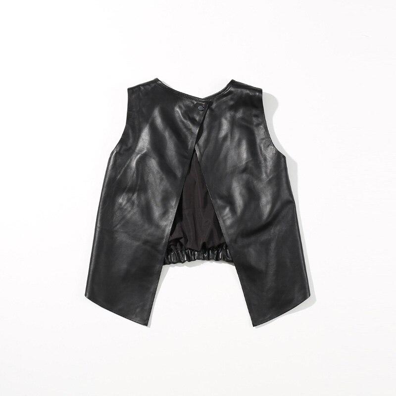 Gilet Réel 2018 Véritable Mode Veste Peau Black Court Manteau Printemps En Noir Mouton Cuir De Décontracté Femmes Sans Manches Dame Sexy 1ZA1nqtxwr