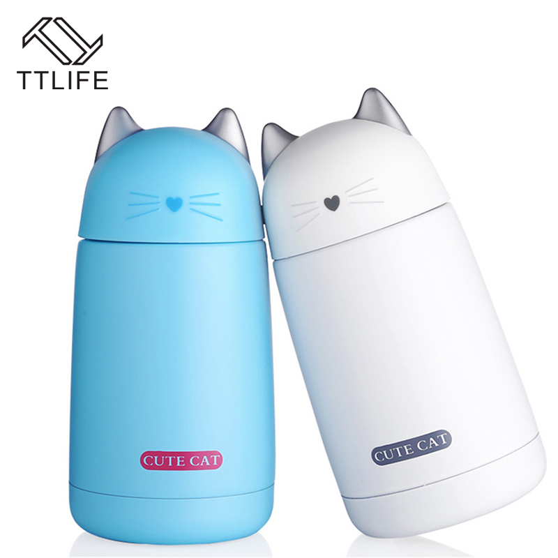TTLIFE Thermos Cup Cartoon Moe Cat Thermo Mug Drinkware Kids Water Bottle Stainless Steel Vacuum Leak