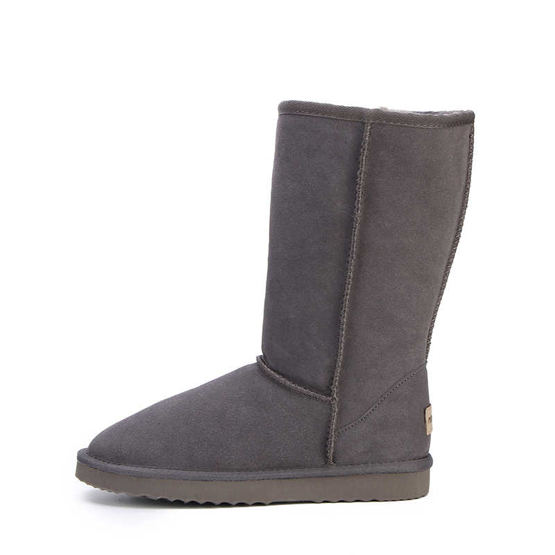 HABUCKN yüksek kar botları kadın kış ayakkabı koyun derisi deri kürk astarlı büyük kızlar uzun yün uyluk kışlık botlar siyah