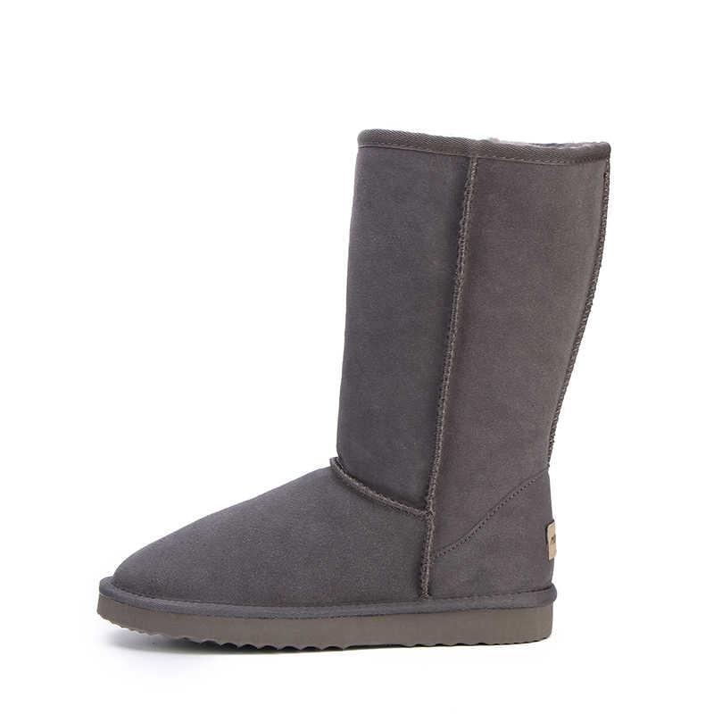 HABUCKN גבוהה שלג מגפי נשים חורף נעלי עור כבש עור פרווה מרופדת גדול בנות גבוה צמר ירך חורף מגפיים שחור