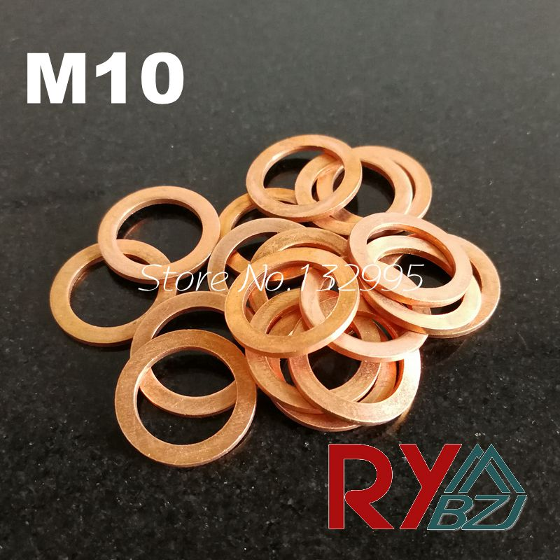 Copper Flat Washer M10 Seal Gasket inner diameter 10mm Sealing Ring Thin Sheet T3 Red copper washer