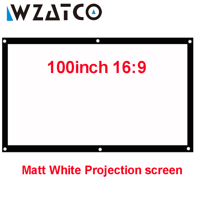 WZATCO Portable HD Projector Screen 100inch 16:9 Matt White Front Projection Screen For Home Theater Projector 14 8v 46wh new original laptop battery for lenovo thinkpad x1c carbon 45n1070 45n1071 3444 3448 3460