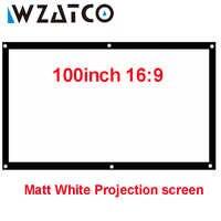 "WZATCO Portable HD Projector Screen 60"" 72"" 100inch 16:9 Matt White Front Projection Screen For JMGO J6S E8 UNIC UC46 Projector"