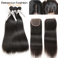 Rebecca Brazilian Straight Weave Remy Hair 4 Bundles With Closure Human Hair Bundles With 4x4 Lace