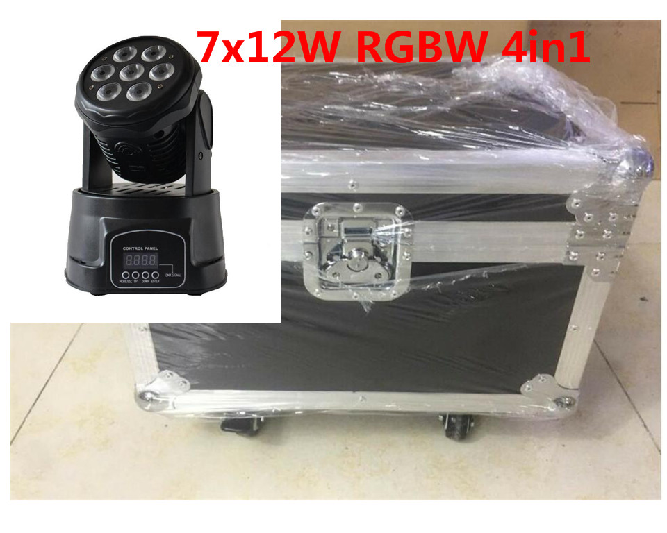 4pcs/lot led wash mini moving head light 7x12w with flightcase+1M dmx cable rgbw 4in1 led light dmx controller dj disco light 4pcs lot professional american dj led lighting led moving head light wash mini 7x12w rgbw dmx 7 12 channels