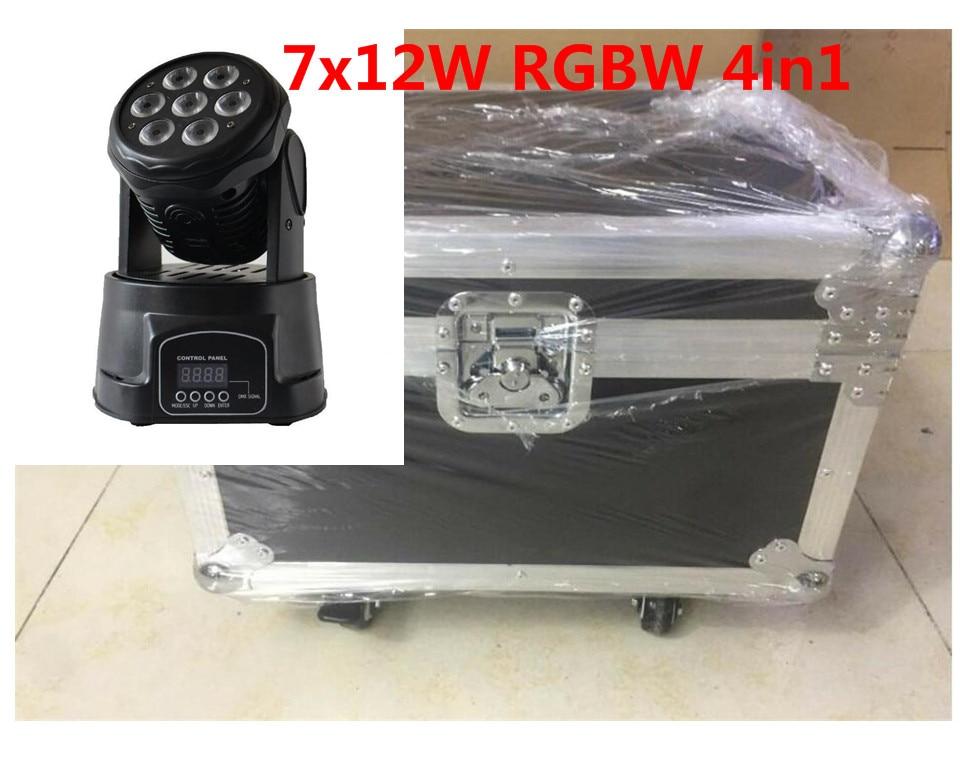 4 шт./лот привело мыть мини движущихся head light <font><b>7&#215;12</b></font> Вт с кейс + 1 м DMX кабель RGBW 4in1 свет DMX контроллер DJ свет диско