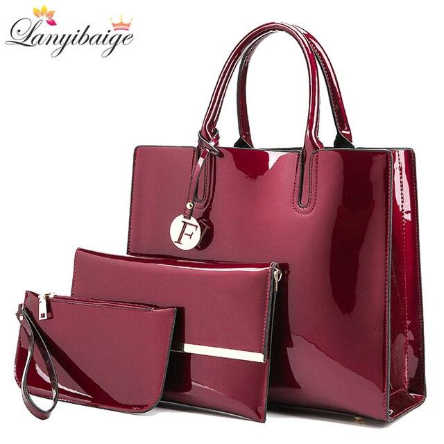 Brand 3 Sets Women Handbags High Quality Patent Leather Female Messenger Bag Luxury Tote+Ladies Shoulder Crossbody Bag+Clutch 1